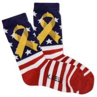 K.Bell Women's Yellow Ribbon Crew Socks - American Made 1 Pair, Red, Women's 4-10 Shoe