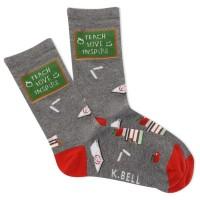K.Bell Women's Teach Love Inspire Crew Socks 1 Pair, Charcoal Heather, Women's 4-10 Shoe