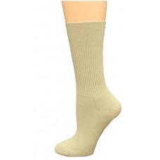 Carolina Ultimate Diabetic Non-Binding Tube Crew Socks 2 Pair, Khaki, Women's 6-9