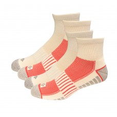 Columbia 1/2 Cushion Quarter Arch Support Poly Blend Sock 6 Pair, M10-13, White/Red