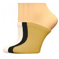 FeetPeople Premium Clog Socks 3 Pair, Black/White/Nude