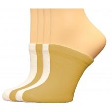 FeetPeople Premium Clog Socks 4 Pair, Nude/White