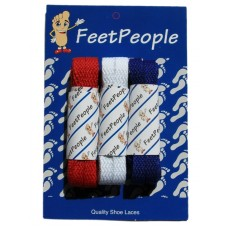 FeetPeople Flat Lace Bundle, Red/White/Blue