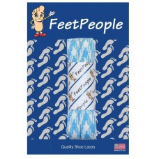 FeetPeople Glow Flat Laces, Carolina Blue Argyle
