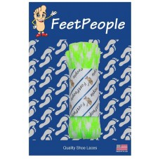 FeetPeople Glow Flat Laces, Neon Green Argyle