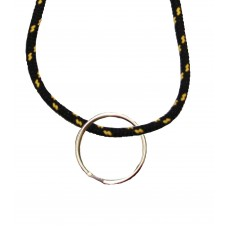 FeetPeople Round Lace Key Chain, Black With Gold Chip