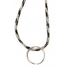 FeetPeople Round Lace Key Chain, Black With White Metallic