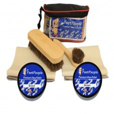 FeetPeople Deluxe Leather Care Kit with Travel Bag, Brown