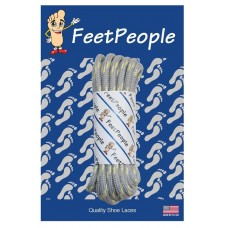 FeetPeople Strong Round Laces, Gray Reinforced w/ Natural Kevlar