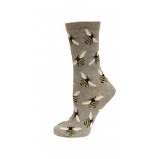 HotSox Bees Socks, Grey Heather, 1 Pair, Women Shoe 4-10
