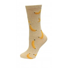 HotSox Banana Socks, Natural Melange, 1 Pair, Women Shoe 4-10