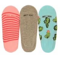 Hotsox Women's No Show Cactus Socks 3 Pair, Assorted, Women's Shoe 4-10