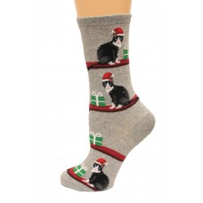 Hot Socks Christmas Cats Women's Socks 1 Pair, Sweatshirt Grey, Women's Shoe Size 9-11