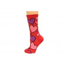 Hot Socks Hearts Women's Socks 1 Pair, Red, Women's Shoe Size 9-11