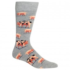 HotSox Mens Spotted Pig Socks, Sweatshirt Grey Heather, 1 Pair, Mens Shoe 6-12.5