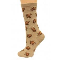 Hot Socks Dancing Turkeys Women's Socks 1 Pair, Hemp Heather, Women's Shoe Size 9-11
