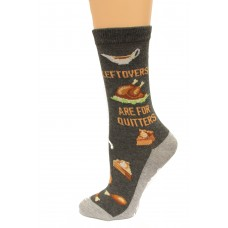 Hot Socks Leftovers Are For Quitters NSkid Women's Socks 1 Pair, Charcoal Heather, Women's Shoe Size 9-11