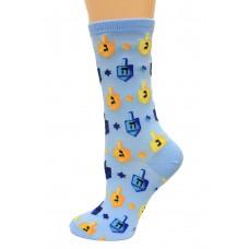 Hot Socks Dreidels Women's Socks 1 Pair, Light Blue, Women's Shoe Size 9-11