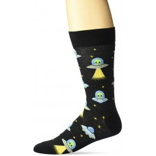 HotSox Alien Socks, Black, 1 Pair, Men Shoe 6-12.5