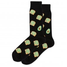 HotSox Avocado Toast Socks, Black, 1 Pair, Men Shoe 6-12.5