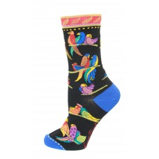 K. Bell Birds of Paradise Socks, Black, Sock Size 9-11/Shoe Size 4-10, 1 Pair