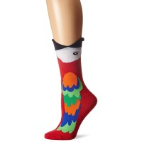 K. Bell Wide Mouth Macaw Crew Socks, Red, Sock Size 9-11/Shoe Size 4-10, 1 Pair