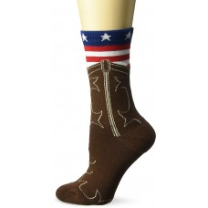 K. Bell American Flag Boot Crew Socks - American Made, French Roast, Sock Size 9-11/Shoe Size 4-10, 1 Pair