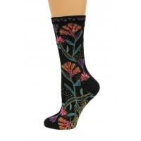K. Bell Wild Flowers Crew Socks, Black, Sock Size 9-11/Shoe Size 4-10, 1 Pair