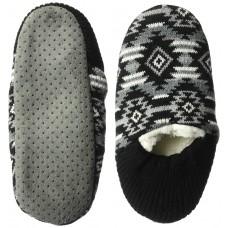 K. Bell Aztec Sherpa Slipper, Black, Size M/L, 1 Pair