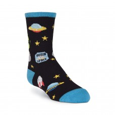 K. Bell Boy's Outer Space Crew Socks, Black, Sock Size 7.5-9/Shoe Size 11-4, 1 Pair