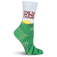 K. Bell Wine Down Crew Socks, Blue, Sock Size 9-11/Shoe Size 4-10, 1 Pair