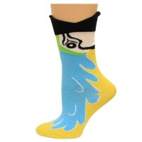 K. Bell Wide Mouth Macaw Crew Socks, Blue, Sock Size 9-11/Shoe Size 4-10, 1 Pair