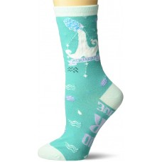 K. Bell Aquarius Crew Socks 1 Pair, Turquoise, Womens Sock Size 9-11/Shoe Size 4-10