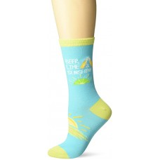 K. Bell Beer Lime Sunshine Crew Socks 1 Pair, Turquoise, Womens Sock Size 9-11/Shoe Size 4-10