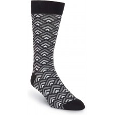 K. Bell Men's Tri Geo Crew Socks, Gray, Mens Sock Size 10-13/Shoe Size 6.5-12, 1 Pair
