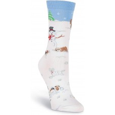 K. Bell Snow Paws Crew, White, Womens Sock Size 9-11/Shoe Size 4-10, 1 Pair