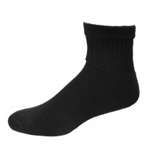 Medipeds Coolmax Cotton Half Cushion Quarter Socks 2 Pair, Black, M9-12