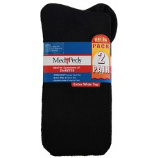 Medipeds Cooolmax Cotton Half Cushion Extra Wide Crew Socks 2 Pair, Black, W4-10