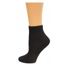Medipeds Coolmax Poly Non-Binding Half Cushion Quarter Socks 4 Pair, Black, W7-10
