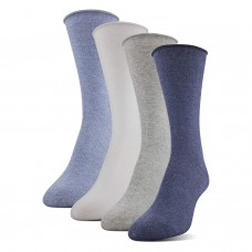 Medipeds Aloe Infused Roll Top Crew Socks 4 Pair, Denim, W7-10