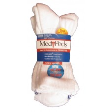 MediPeds Diabetic Crew 3 Pair, Medium, White