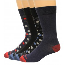 Rockport Men's Crew Socks 4 Pair, Dots Assorted #2 , Men's 8-12