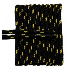 FeetPeople High Quality Round Laces For Boots And Shoes, Black With Gold Chip