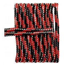 FeetPeople High Quality Round Laces For Boots And Shoes, Black And Red Metallic