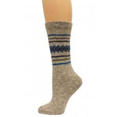 Wise Blend Aztec Crew Socks, 1 Pair, Natural, Medium, Shoe Size W 6-9