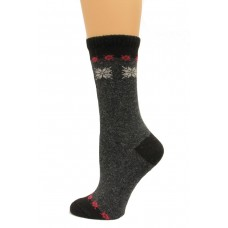 Wise Blend Angora Snow Flake Crew Socks, 1 Pair, Black, Medium, Shoe Size W 6-9