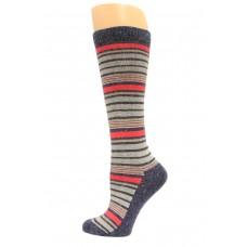Wise Blend Angora Stripe Knee High Socks, 1 Pair, Denim, Medium, Shoe Size W 6-9