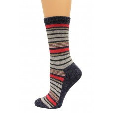 Wise Blend Angora Stripe Crew Socks, 1 Pair, Denim, Medium, Shoe Size W 6-9